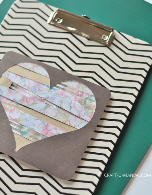 diy paper heart clipboard