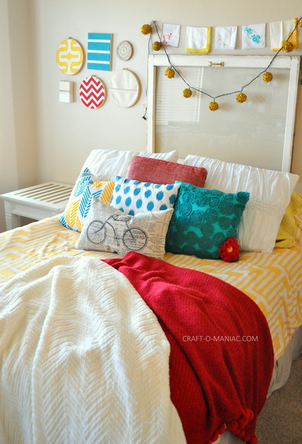 diy stenciled pillow bed1