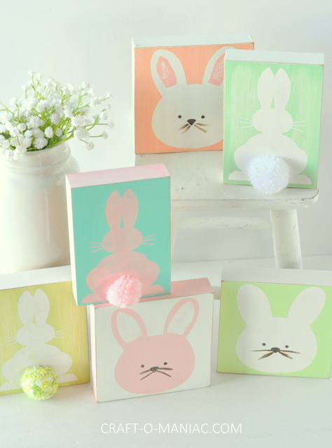DIY stenciled wood bunnies3