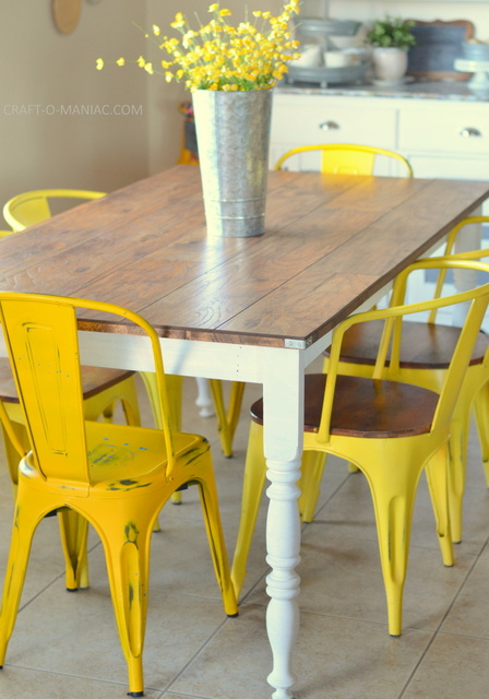 diy rustic kitchen table7