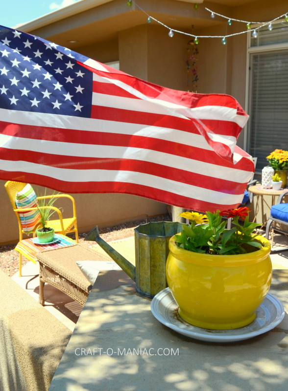 bright porch decor flag