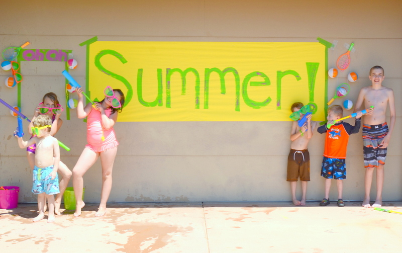 summer water party banner and kids4