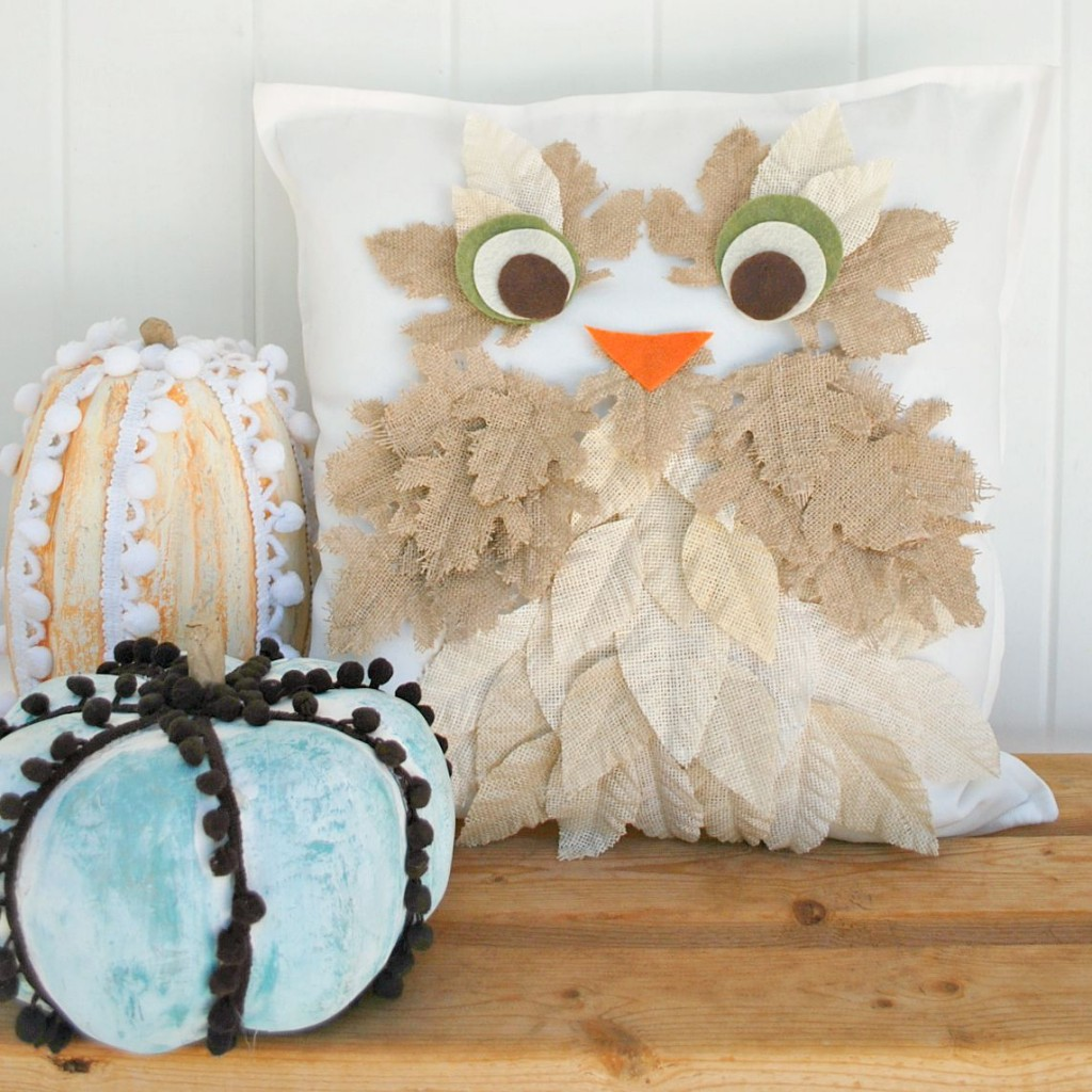 cc burlap leaf owl pillow