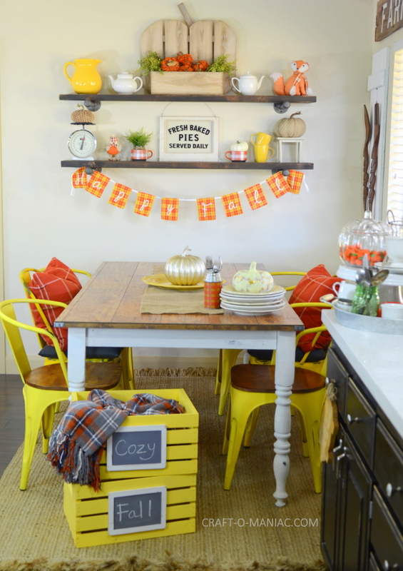 fall plaid kitchen decor22